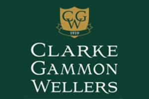 Clarke Gammon Wellers logo White writing on green background