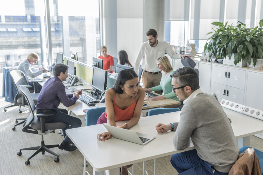 Group of business people in new office working on computers