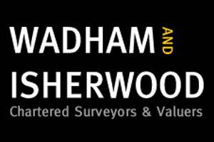 Wadham and Isherwood Logo white lettering on black background