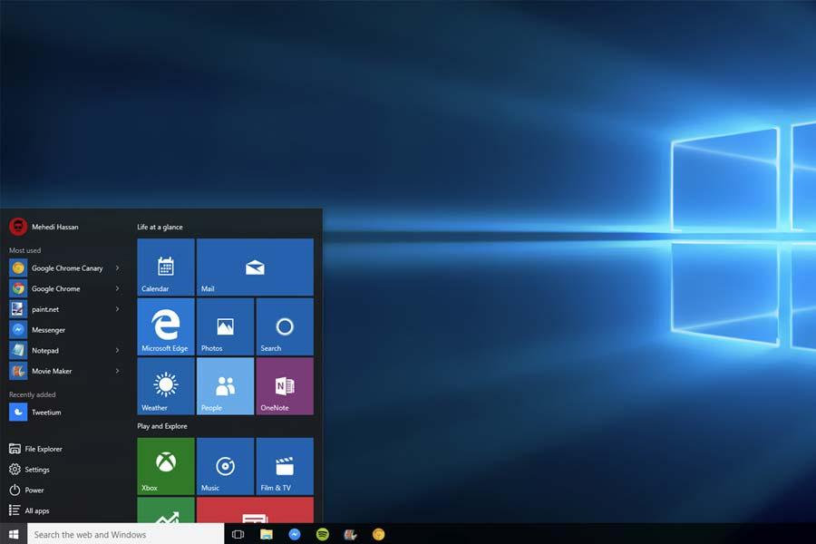 Windows 10 desktop with start menu visible