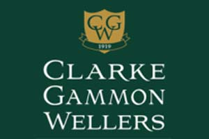 Clarke Gammon Wellers logo White writing on green background